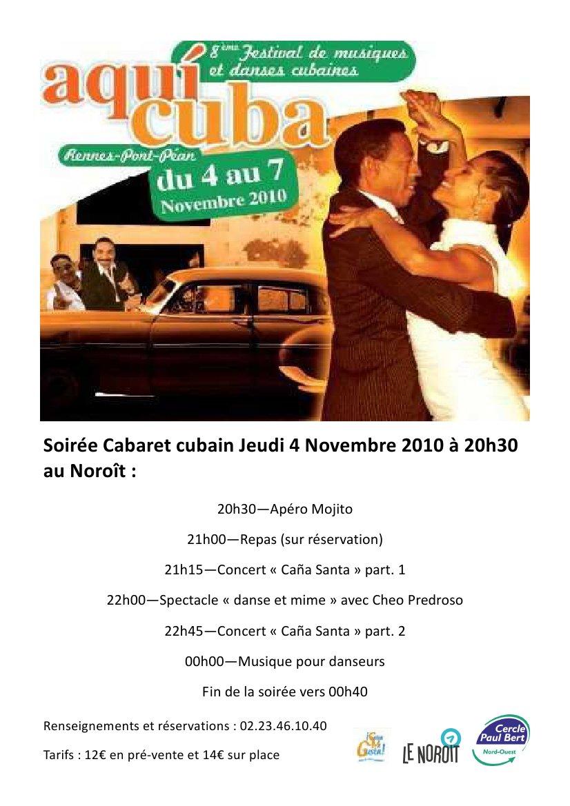 Soirée Cabaret Cubain Jeudi 4 Novembre 2010 à 20h30 au Noroît